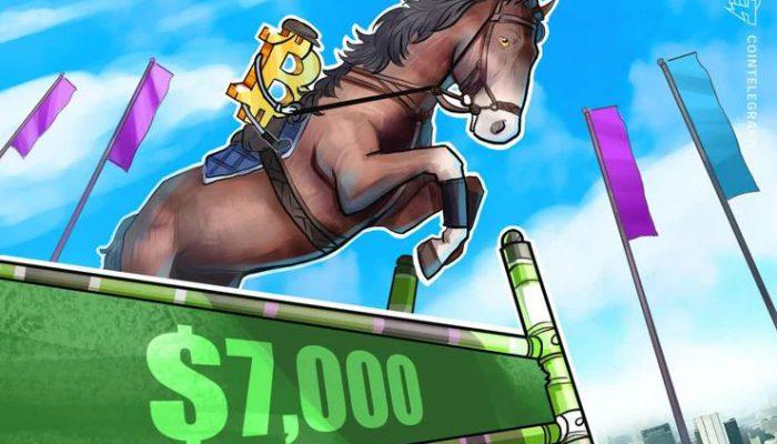 قیمت بیت کوین (Bitcoin) از سطح 7 هزار دلاری عبور کرده است اما برای جلوگیری از بازگشت قیمت به سطح 5.2 هزار دلار باید این سطح را حفظ کند