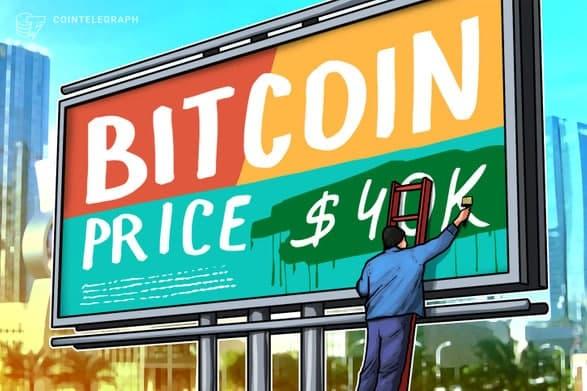 بیت کوین (Bitcoin) برای دومین بار طی دو روز تلاش کرد از مقاومت 40000 دلاری عبور کند